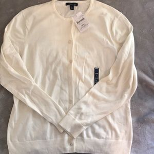 NWT Land's End Cream-colored Cardigan